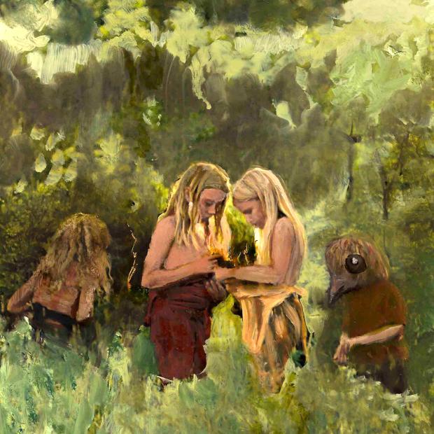 twin blonde children gathering lightning bolts in a surreal landscape