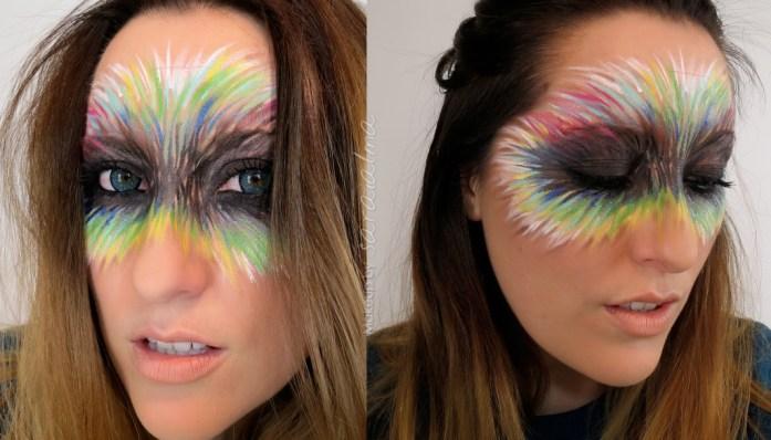 Maquillaje de carnaval - máscara de plumas