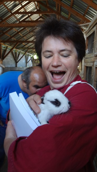 Erzsébet, my site supervisor, with a baby bunny from the farm.