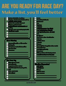 Raceday Checklist