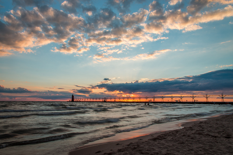sunset at South Haven, Michigan
