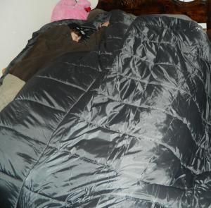 My son on the sleeping bag