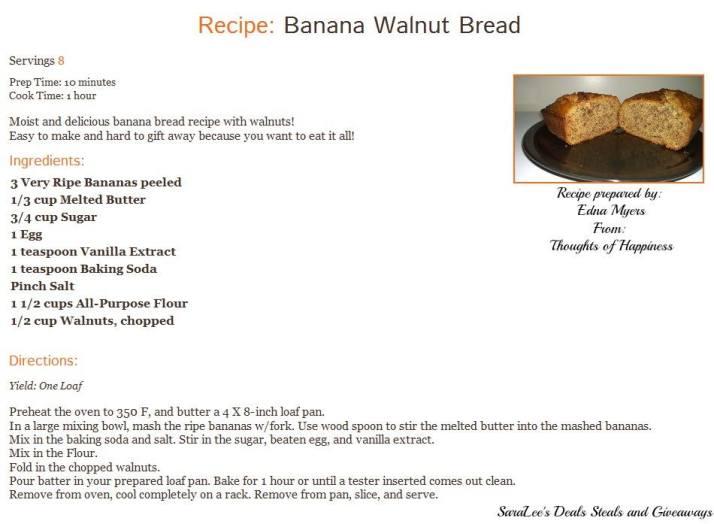 Banana Walnut Bread Recipe
