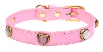 Designer Leather Dog Collars - Cat Eye Heart Beaded - Size Small