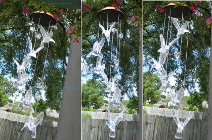 IMAGE® Windlights Solar Powered LED Changing Light Color Hummingbird Wind Chimes
