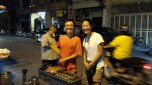 Me and our chicken satay purveyor.