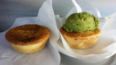 Pies. Meat pies and peas.