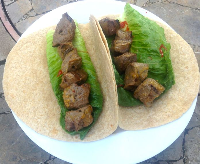 Grilled Venison Wrap with Romaine & Grilled Pickled Chili