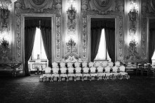 """The empty seats of the 21 ministers appointed by the new Prime Minister of Italy Enrico Letta are here before the swearing ceremony of their new government, supported by the so-called """"Grand Coalition"""" between the right wing People of the Freedom (PdL) of Silvio Berlusconi, the centre-left Democratic Party, and the centric Civic Choice of former Prime Minister Mario Monti, who all have opposed each other during the campaign leading up to the February 2013 general elections, here at the Quirinale, the presidential palace, in Rome, Italy, on April 28th 2013. After a two-month long post-election deadlock the 87-years old President of the Republic Giorgio Napolitano, who was re-elected a week earlier on April 20th for a second term after 7 years in office, invited the vice-secretary of the Democratic Party Enrico Letta on April 24th to form a new government."""