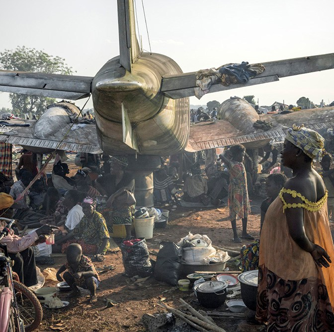 A camp built by some 100,000 internally displaced people (IDP) near Bangui's Mpoko airport, who took refuge here due to the French army presence nearby.