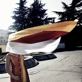 South Ossetia, 2008. A woman celebrating the recognition of independence by Russia. Claimed by Georgia, and de facto independent, South Ossetia, is recognized Sovereign state by Russia in the August 26th 2008, followed by Nicaragua and Venezuela.