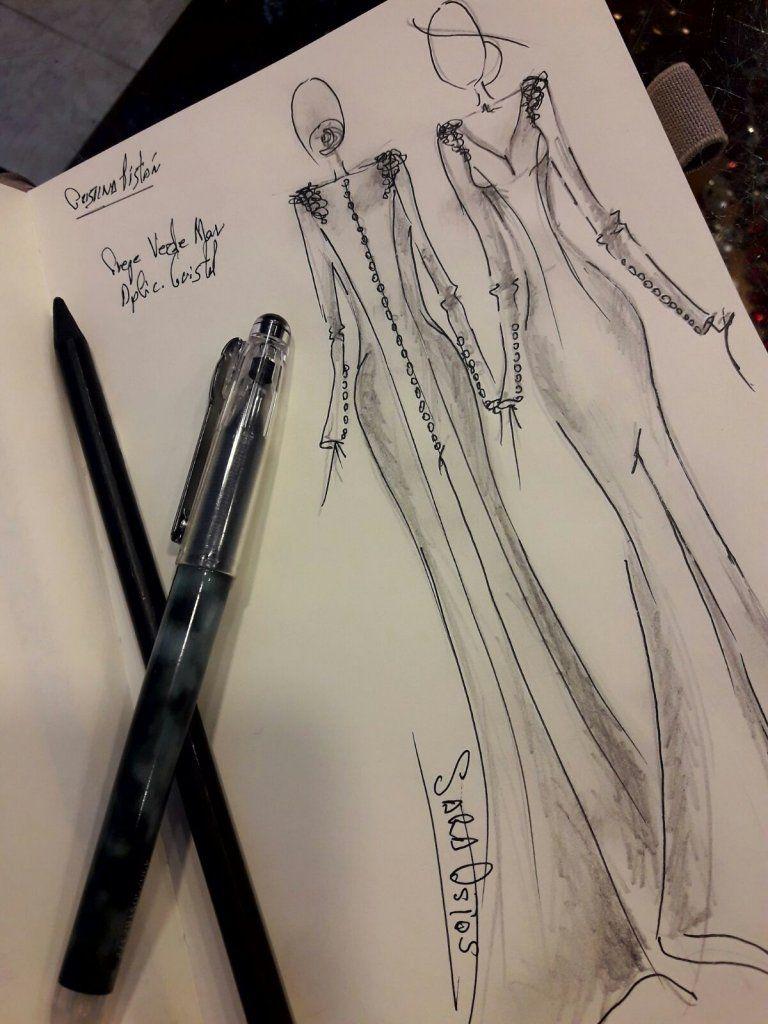 Vestido de fiesta real | Diseñadora Sara Ostos | Boceto