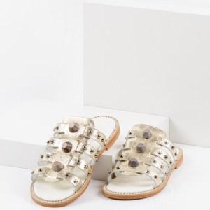 Дамски чехли в златен цвят-141920