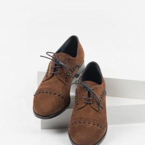 Велурени дамски обувки в кафяв цвят 4810101