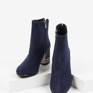 Велурени дамски боти в син цвят-484016