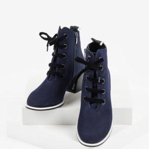Велурени дамски боти в син цвят-482700