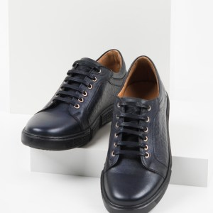 Кожени мъжки обувки в син цвят-0420113
