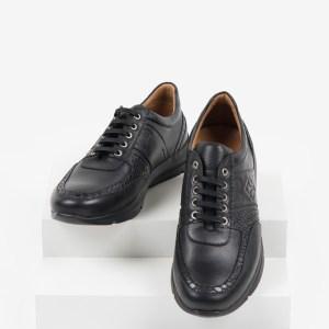 Кожени мъжки обувки в черен цвят-0420117