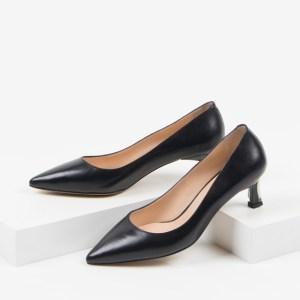 Кожени дамски обувки в черен цвят-230257