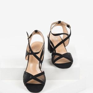Велурени дамски сандали в черен цвят-482356