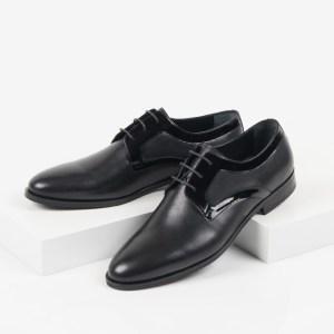 Кожени мъжки обувки в син цвят-281510