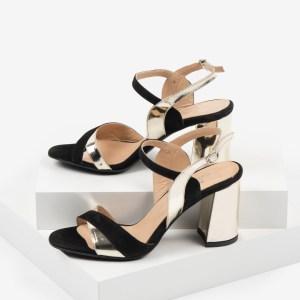 Велурени дамски сандали в черен и златен цвят-4831291