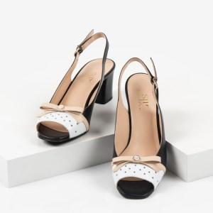 Дамски сандали в черен и бял цвят-241262
