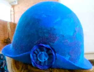 Blue hat with side feature