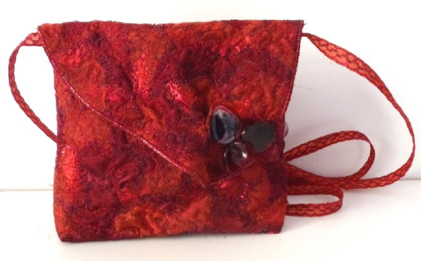 Red evening bag handmade