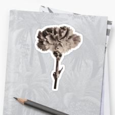 sepia carnation sticker