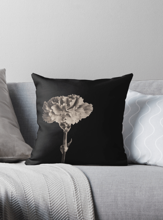 sepia carnation floral Cushions