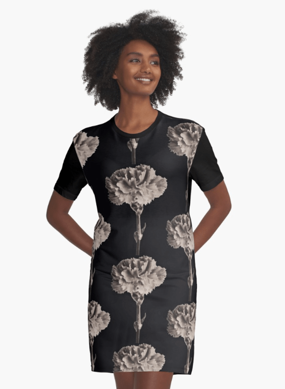 sepia carnation floral dress