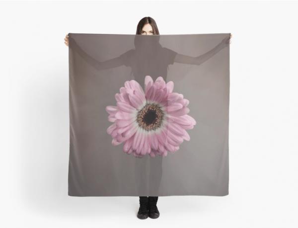 pink gerbera scarf