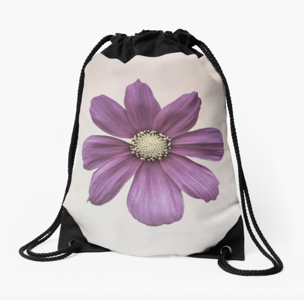 Cosmos flower drawstring bag
