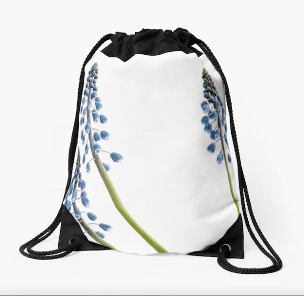 Grape Hyacinth Flower Drawstring Bag