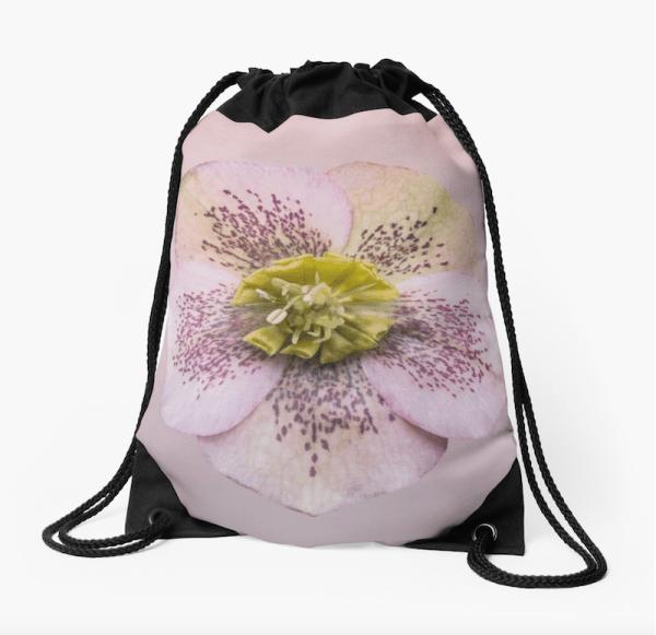 Hellebores Flower Drawstring Bag