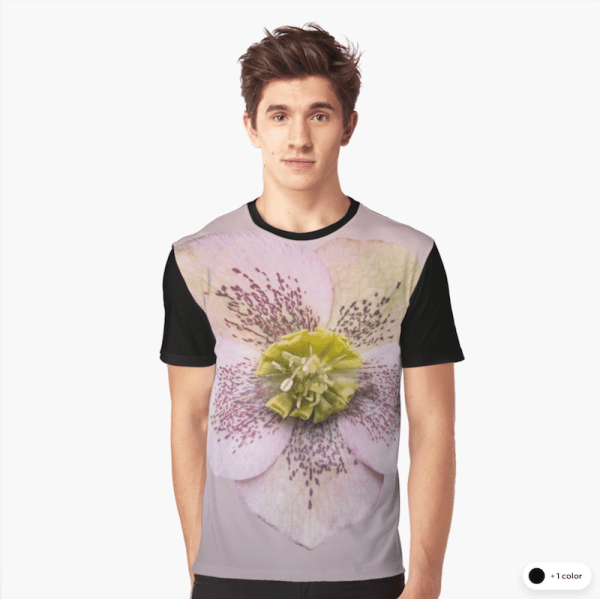 Hellebores flower graphic t-shirts