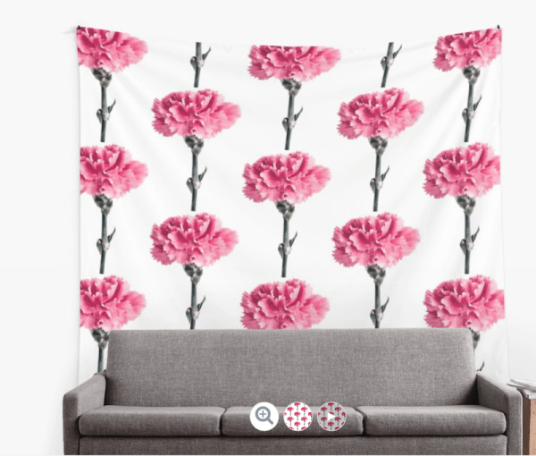 Carnation Flower wall tapestry
