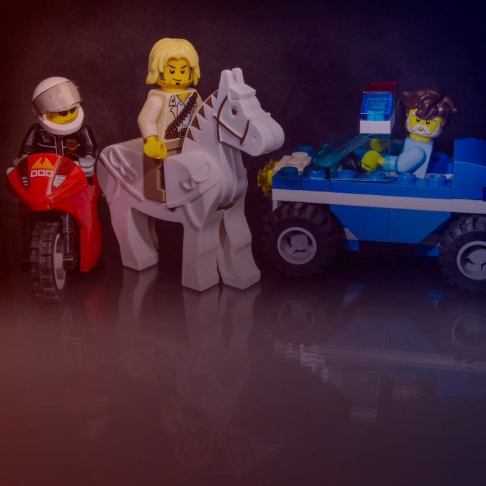 Lego characters following a red, white and blue theme