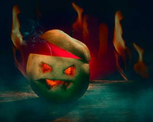 spooky images - a Halloween carved apple!