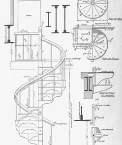 Metal Spiral Stairs Blue Print