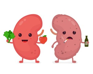happy kidney vs sad kidney concept