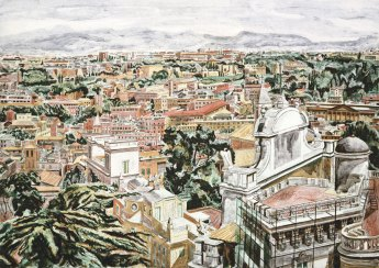"Philip Pearlstein, View of Rome, 1986, Direct gravure/aquatint with roulette work, 41 ½"" x 52"", Edition: 60, Images courtesy of Graphicstudio/USF, Photo Credit: Will Lytch"