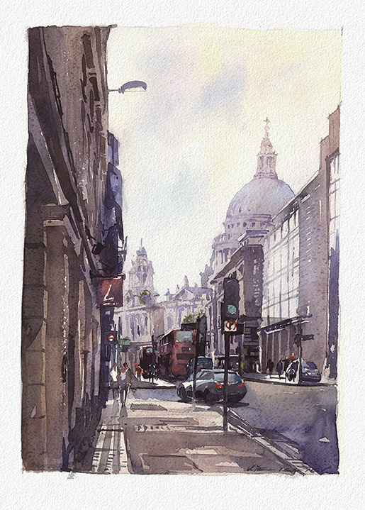 """View on St. Paul Cathedral, London. Watercolor. 9.6""""x13.7"""" Displayed at Stakenborg Fine Art Gallery,  1545 Main St., Sarasota, FL  phone (941) 487 - 8001"""