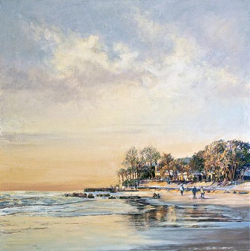 "Sunset on Siesta Key. Acrylic on canvas. 24""x24"" Displayed at Stakenborg Fine Art Gallery,  1545 Main St., Sarasota, FL phone (941) 487 - 8001"