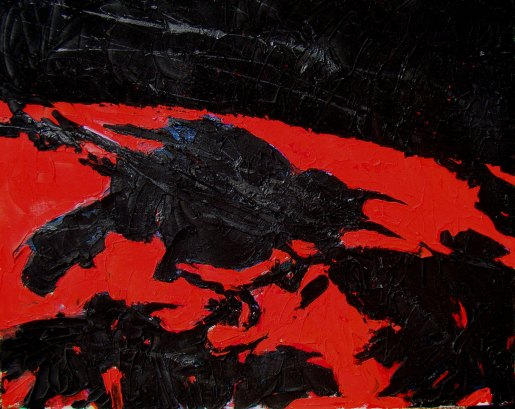 """RED BACKED CROW   24"""" X 30""""   acrylic on canvas"""