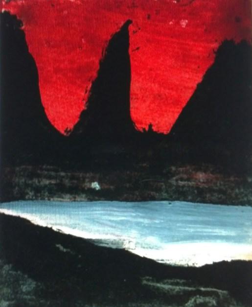 """Tiny Landscape Painting, Antigua: Hurricane Sky, Black Jagged Hill"" Oil on Polaroid card 1O x 8 cm Ingleby Gallery"