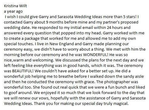 Lido key beach wedding Review