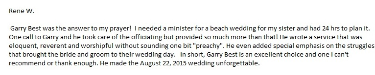 Sarasota beach wedding services testimonial