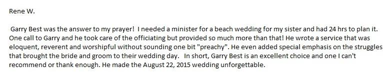 Sarasota beach wedding services testimonial